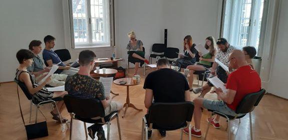 próba grupy teatralnej Polonia Nova w Budapeszcie