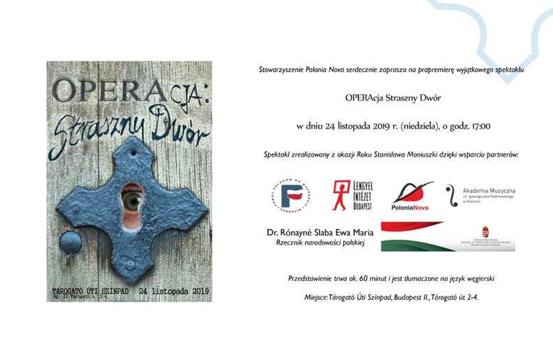 plakat - zaproszenie na przedstawienie Polonia Nova w Budapeszcie
