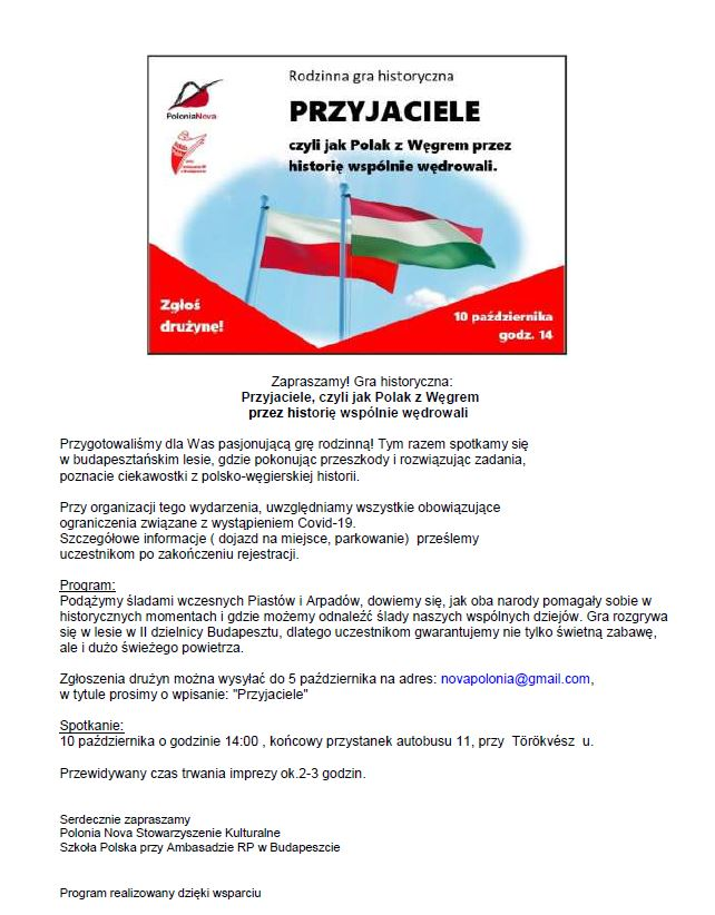 plakat imprezy dla Polaków organizowanej przez Polonia Nova w Budapeszcie