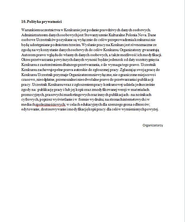 Regulamin konkursu literackiego Futurolama zorganizowanego przez Polonia Nova w Budapeszcie