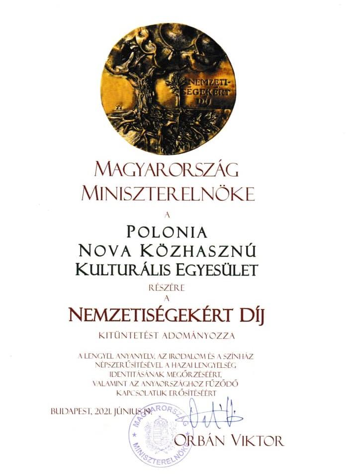 Nemzetisegekert Dij dla Polonia Nova w Budapeszcie